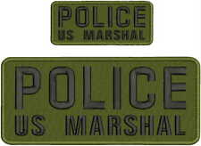 POLICE US MARSHAL EMBROIDERY PATCH 4X10 & 2X5 HOOK ON BACK OD GREEN/BLK