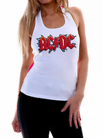 AC/DC Women White Tank Top ACDC Singlet Rock Band Tee Shirt