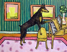 Doberman Pinscher playing the piano dog art print 11x14 music room art