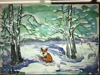 ORIGINAL Malerei PAINTING zeichnung drawing psy contemporary ART fuchs fox A4 1