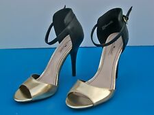"Anne Mitchell Enzo OpenToe 4.5"" Heel Gold & Black Slingbacks Stilettos 8.5 M"
