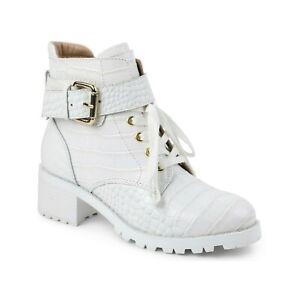 BCBGeneration Women Block Heel Combat Boots Bright White Croco Print Leather
