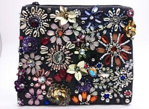 BNWT Accessorize Beautiful Jewel 3D Flower & Beadwork,Black & Multi Coin Purse