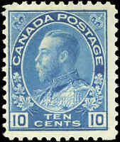 Mint H Canada 10c 1911-25 F+ Scott #117 King George V Admiral Issue Stamp