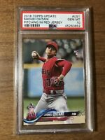 2018 Topps Update Shohei Ohtani PITCHING IN RED JERSEY ROOKIE RC #US1 PSA 10 GEM