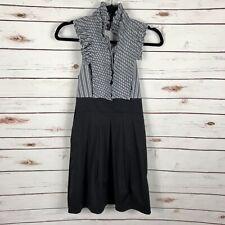 BCBG Maxazria Gray Ticking Stripe Ruffle Dress Halter Pintuck Pleat Skirt Size 0