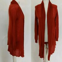 Mango Women's Waterfall Open Knit Cardigan Orange Rusty Colour Mohair Blend M 12