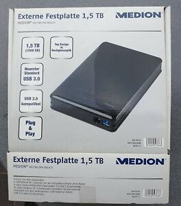 Medion Externe 1500 GB / 1,5 TB Festplatte Datenhafen schwarz