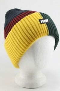NEFF Thick-Knit Beanie, One Size Fits Most, Navy / Red / Yellow / Green New
