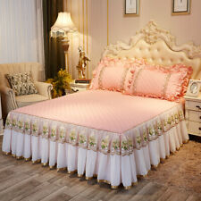 Lace embroidered bed skirt pure cotton-padded bedspread 2 pillowshames bed cover