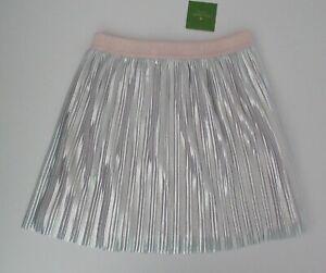 NWT Ralph Lauren Big Girls Pull On Silver Pleated Metallic Skirt Sz 14 NEW $44