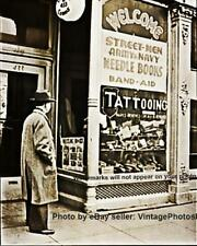 Old Vintage 1941 Walk In Army Navy Tattoo/Tattooing Parlor/Shop Wall Art Photo