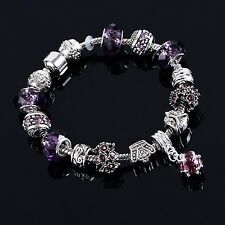 925 Sterling Silver Charm Bracelet with Charms and Purple Murano Glass Beads