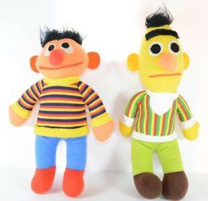 Vintage Bert And Ernie Stuffed Dolls 1980's Sesame Street Playskool Hasbro
