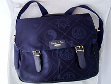 MOSCHINO shoulder backpack blue fabric gold bag heart leather purse vintage