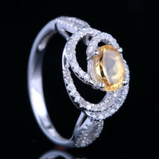 10K White Gold Diamonds Jewelry Oval Cut Citrine Wedding Ring Prong Setting