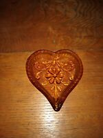 Vintage IndianaTiara Glass  Heart Nut Candy Dish Amber