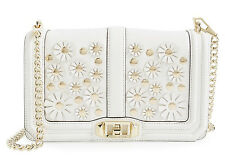 NWT Rebecca Minkoff Full Size Love White Applique Floral Leather Crossbody Bag
