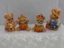 Lot of 4 Vintage Halloween figurines Enesco & Homco Teddy bears and Pumpkins