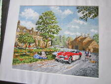 Cross stitch chart by Kevin Walsh showing a family taking a drive in the country