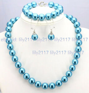 8/10mm South Sea Shell Pearl Round Beads Necklace Bracelet Earrings Set 18''