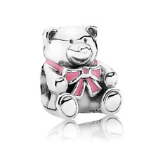Silver Charms Bead Stopper fit European Bracelet hallmarked Pink bear PSB310
