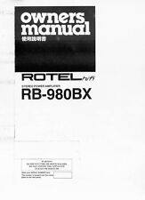 Rotel RB-980BX Amplifier Owners Manual