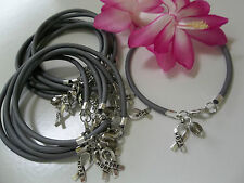 1 DZ  BRAIN CANCER /DIABETES AWARENESS  BRACELETS/GRAY/'HOPE' RIBBON CHARM