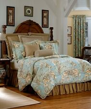 4pc Wheat/light blue Tropical floral Design  100% Cotton Comforter Set Queen