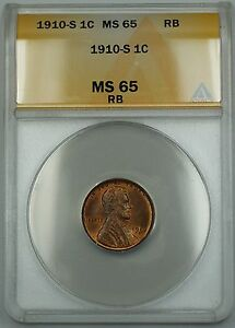 1910-S Lincoln Wheat Cent 1c Coin ANACS MS-65 Gem RB Red-Brown *Scarce Date* ETR