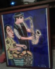 NIGHTCLUB DUO ABSTRACT HIPPIE POP FOLK ART 2004 SIGNED JOE GOMEZ OIL PAINTING
