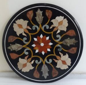 """24"""" Marble pietra dura Table Top semi precious stones art with marble stand"""