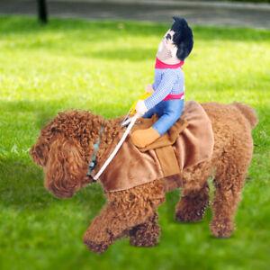 Funny Christmas Clothes Cowboy Dog Rider Costume Pet Puppy Dog Coat Dress Up