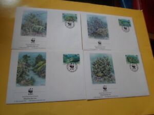 Tuvalu 1992 Wwf Blaukoralle 4 FDC First Day Covers
