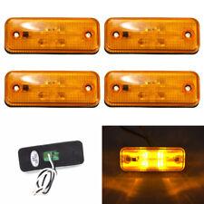 4x 4 LED Clearance Side Marker Light Lamp Bus Truck Trailer Lorry Amber 12V 24V