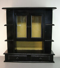WOOD WOODEN WALL HANGING HUNG BLACK PAINTED CURIO DISPLAY CABINET SHELF VINTAGE