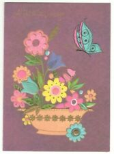 FLOWERS BUTTERFLY Vintage Sunshine Get Well Greeting Card w/ Envelope MG7