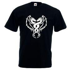 T-shirt cotone bianca o nera uomo donna con disegno tribale serpente drago