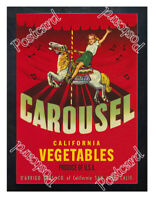 Historic Carousel California Vegetables, San Jose, 1940s Advertising Postcard