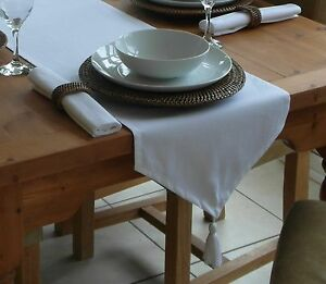"""35X200CM (14X78"""") WHITE COTTON TABLE RUNNER WITH TASSEL - 6 SEATER*"""