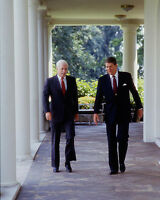President Ronald Reagan outside White House with Senator John McCain Photo Print
