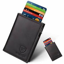 Wallets Mens Genuine Leather Credit Card Holders RFID Blocking Auto Pop-Up Black