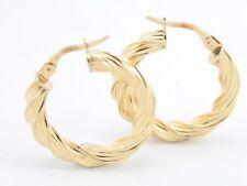 9ct Gold Hoop Earrings Ladies Gorgeous 375 Snap Post Closure D45