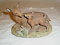 Vintage HOMCO Porcelain Deer and Fawn Figurine Hand Painted