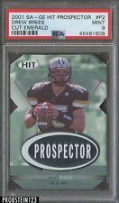 2001 SA-GE Hit Prospector #P2 Drew Brees Emerald #/299 RC Rookie PSA 9 Saints