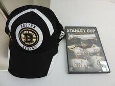 Boston Bruins Adidas Black Face-Off Team Structured Flex Fit Hat S/M PLUS DVD