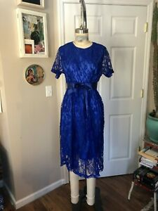 Forever 21 Indigo Chantilly Lace Blue Bow belted wiggle Cocktail Dress *MED*