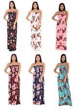 Womens Boobtube Bandeau Floral Print Strapless Sheering Maxi Dress Plus Size
