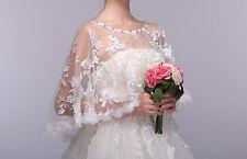 Womens Embroidery Lace Shawl Rhinestone Wedding Bridal Cape Stoles Shrug Size
