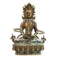 Cloisonné Amitayus Buddha (20cm) Cina Buddismo Bronzo Meditazione Statua Tomao